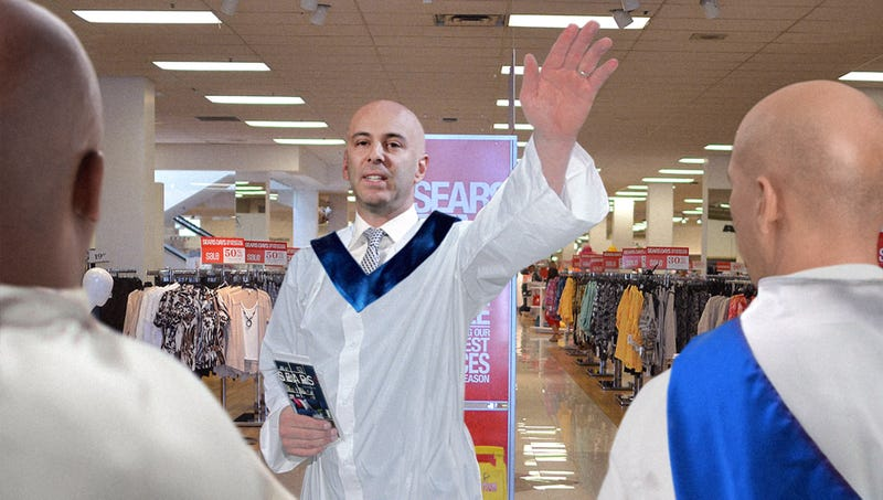 Illustration for article titled 'The Convergence Is At Hand,' Announces Sears CEO As Employees Report To Company Headquarters In White Gowns