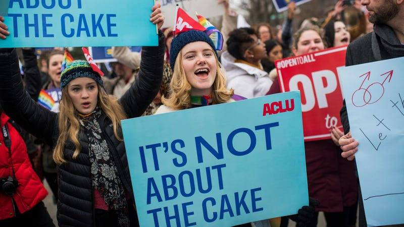 Protesters outside the Supreme Court in December 2017, when arguments were being on heard on whether a Colorado baker, who refused to make a wedding cake for the couple based on his religious beliefs, is protected by the First Amendment.