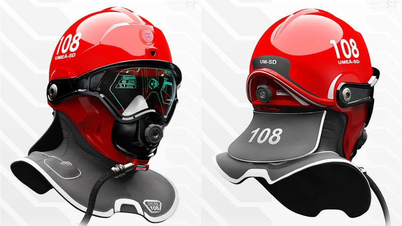 Illustration for article titled This Sci-Fi Helmet Could Give Firefighters Predator Thermal Vision