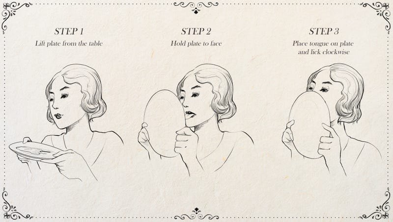 Illustration for article titled New Edition Of Emily Post's Etiquette Book To Include Chapter Demonstrating Proper Way To Lick Maple Syrup Off Plate