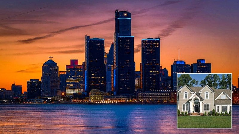 The Detroit skyline and a beautiful house.