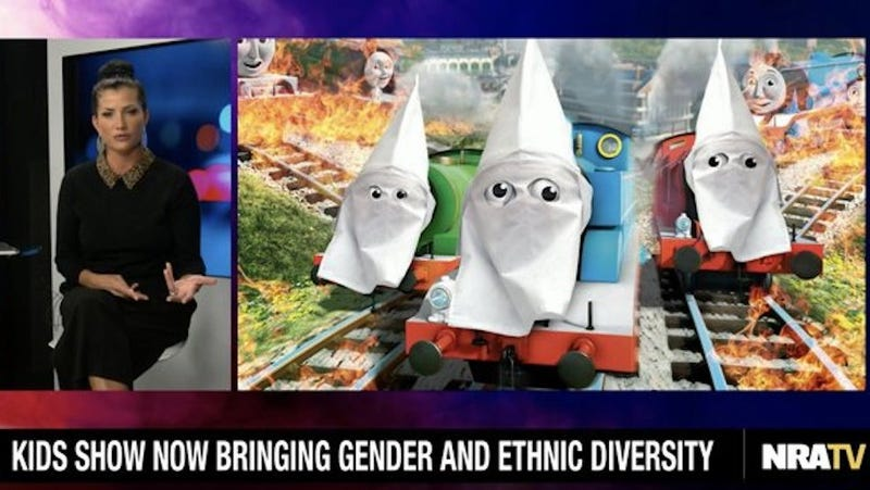 Illustration for article titled The NRA is So Mad About Thomas the Tank Engine's Black Friends, They Put a KKK Hood on Him