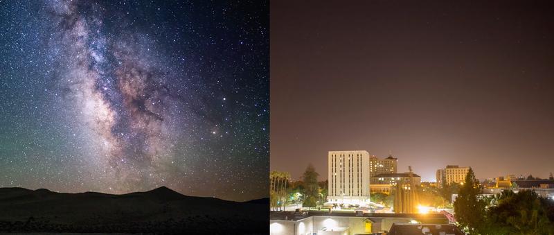 Illustration for article titled La brutal diferencia entre un cielo con un nivel 1 o un nivel 8 de contaminación lumínica
