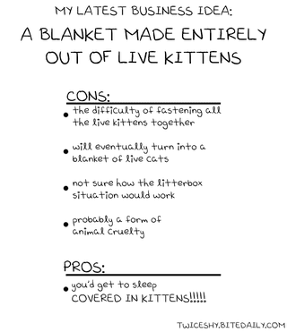 Illustration for article titled Pros and Cons of a Blanket Made by Kitties and Other Moral Dilemmas