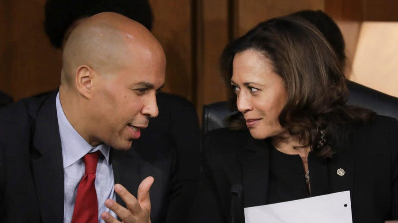 Sens. and Democratic presidential candidates Cory Booker and Kamala Harris during then-Supreme Court nominee Brett Kavanaugh's Senate confirmation hearings in September 2018