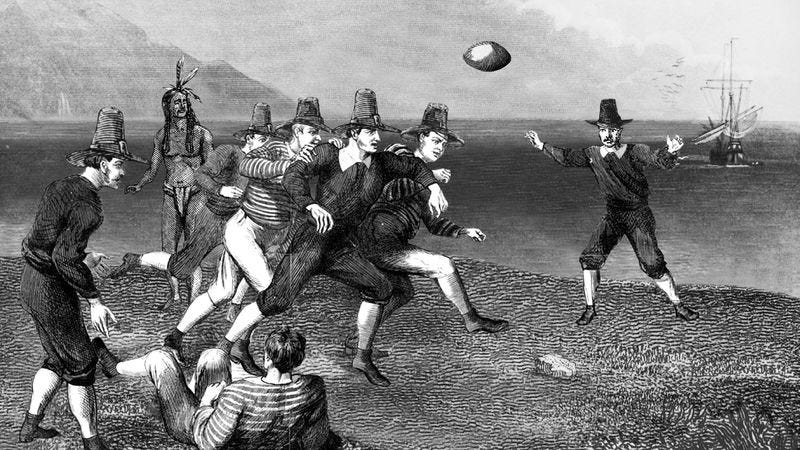 Edmund Fayerweather is credited with developing early pro set and single-back formations while pioneering colonial football in the 1620s.