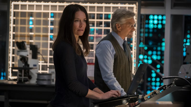 Evangeline Lilly as Hope Van Dyne and Michael Douglas as Hank Pym in Ant-Man and the Wasp.