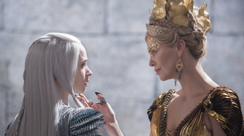 Emily Blunt and Charlize Theron as glamorous rival sister queens in The Huntsman: Winter's War. Image: Giles Keyte