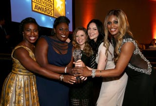 Actresses Uzo Aduba, Danielle Brooks, Natasha Lyonne, Laura Prepon and Laverne Cox, with the award for best comedy series for Orange Is the New Black, attend the 4th Annual Critics' Choice Television Awards at the Beverly Hilton Hotel June 19, 2014, in California.Christopher Polk/Getty Images for Critics' Choice Television Awards