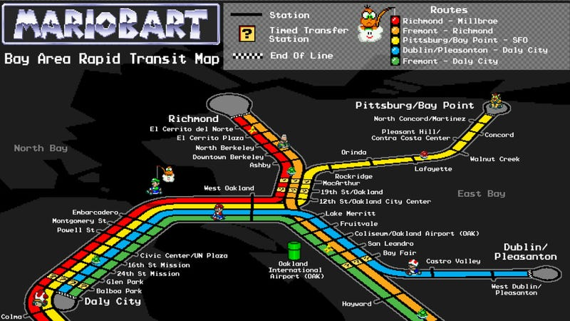 Illustration for article titled This MarioBART Map Takes Rainbow Road Right Through San Francisco