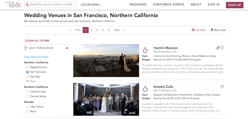 Illustration for article titled Wedding Spot Compares Wedding Venues by Location, Style, and Price