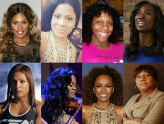 Top row: Laverne Cox, Precious Davis, CeCe McDonald and Angelica Ross. Bottom row: Fallon Fox, Tona Brown, Janet Mock and Monica Roberts.