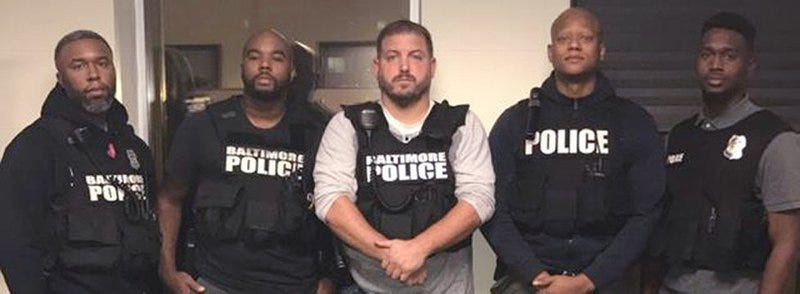 Members of the Baltimore Police Department's Gun Trace Talk Force: Detective Evodio Hendrix, Detective Marcus Taylor, Sgt. Wayne Jenkins, Detective Jemell Rayam and Detective Maurice Ward. Taylor is one of two detectives convicted Monday in federal court. (Baltimore Police Department)