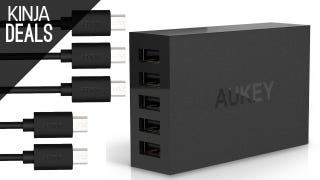 This 5-Port Charging Hub Comes with Five MicroUSB Cables for Free