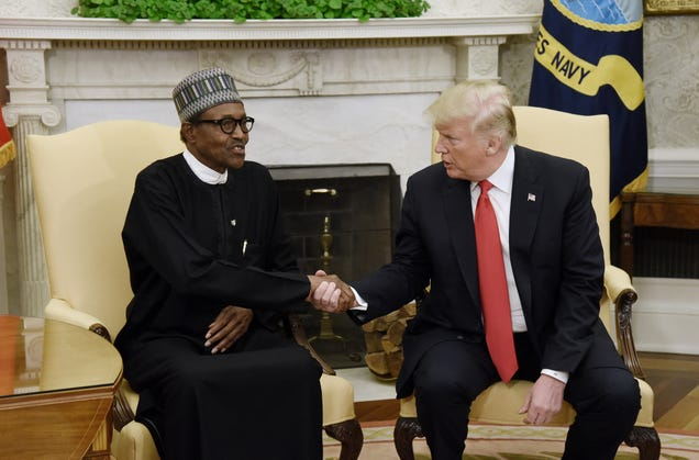 Nigerian President Muhammadu Buhari with President Donald Trump in the Oval Office of the White House on April 30, 2018, in Washington, D.C.