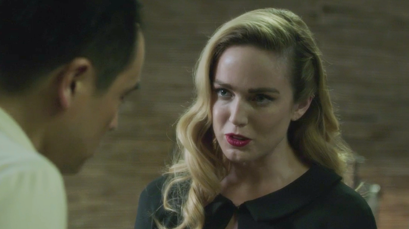 Sara Lance (Caity Lotz) comforts the grieving director.