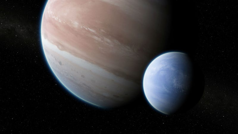 Artist's impression of the exomoon—a Neptune-sized moon in orbit around a large Jupiter-like exoplanet.