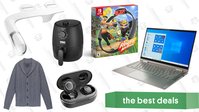 Friday s Best Deals: Lenovo Yoga 2-in-1 Laptop, Bio Bidet Attachments, Ring Fit Adventure, Bella Pro Series Air Fryer, JACHS NY Sweater Sale, Mpow Earbuds, and More