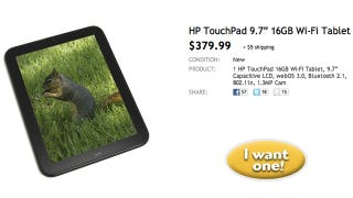 Illustration for article titled HP TouchPad's Reduced to Bargainous $380 on Woot Today Only (Updated: $300 at Staples!)