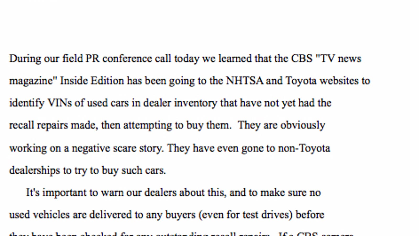 Toyota Warns Dealers To Fix Recalled Used Cars Before Selling Them