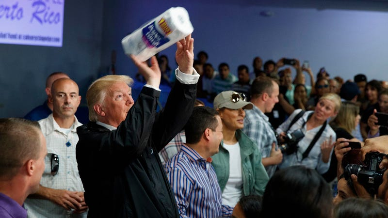 Image via AP. Trump throwing a paper towel roll into the crowd on his October 3rd visit to Puerto Rico.