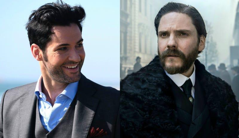 Tom Ellis is Lucifer (Photo: Fox Network) and Daniel Brühl is The Alienist (Photo: Kata Vermes/Turner Networks)