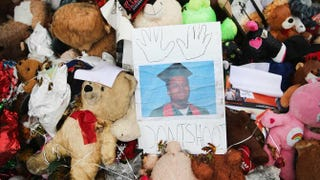 A memorial sits near the spot where 18-year-old Michael Brown was shot and killed by a police officer on Oct. 10, 2014, in Ferguson, Mo.Scott Olson/Getty Images