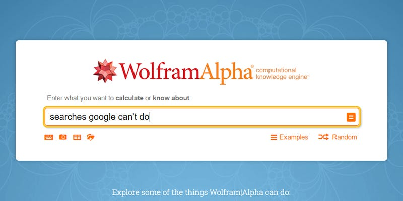 16 búsquedas en Wolfram Alpha que Google no sabe responder