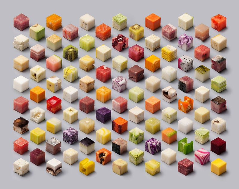 This is a real photo of different types of food cut into identical ...