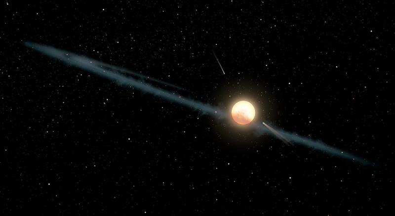 Representación artística de la estrella con los cometas orbitando a su alrededor. Ilustración: NASA / JPL