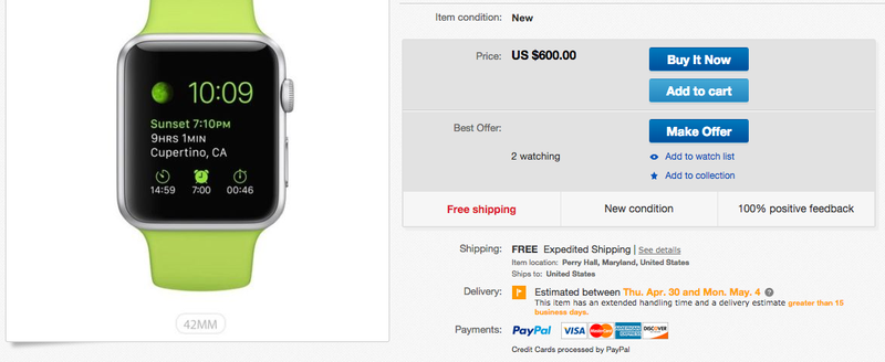 Illustration for article titled You Can Buy an Apple Watch on eBay—But It Won't Be Cheap