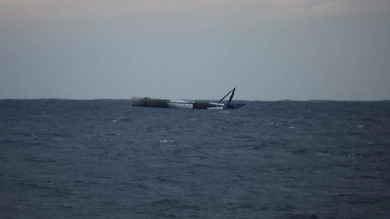 Floating Falcon 9 rocket following experimental high-thrust landing. Image: SpaceX/Elon Musk