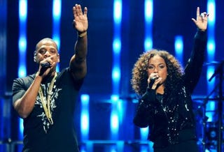Jay Z and Alicia Keys onstage in Las Vegas Sept. 23, 2011Ethan Miller/Getty Images for Clear Channel