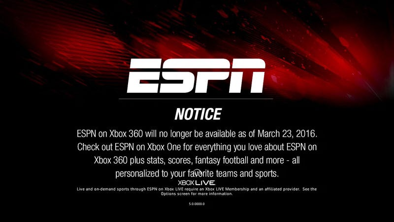 Illustration for article titled Millions Of Xbox 360s Soon To Flood Craigslist As ESPN Ends Support