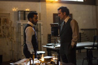 André Holland as Dr. Algernon Edwards and Clive Owen as Dr. John Thackery in the Cinemax series The KnickMary Cybuslki/Cinemax