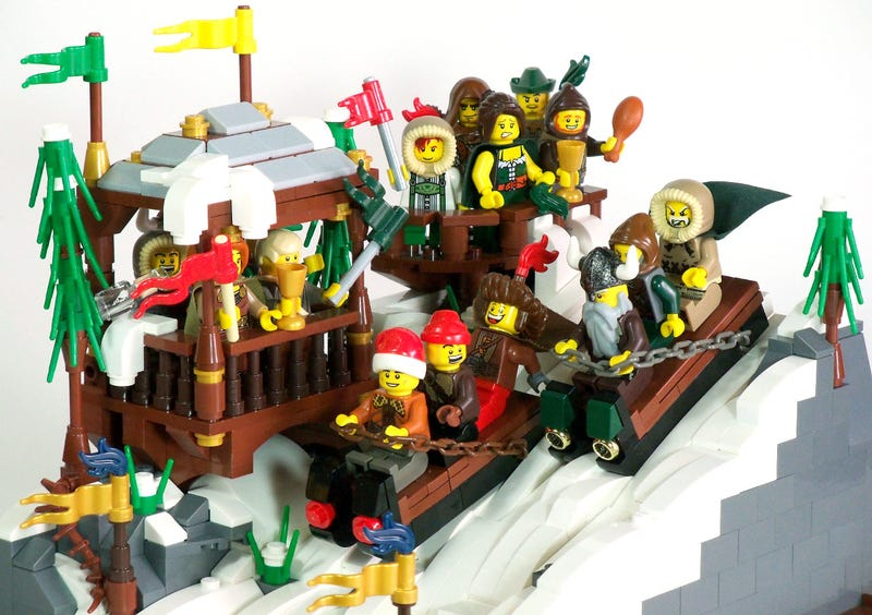 Illustration for article titled Check out this medieval Lego bobsled team