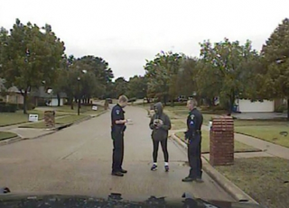 Dash-cam video image of Dorothy Bland's brief encounter with police near her home in Corinth, Texas, Oct. 24, 2015.YouTube