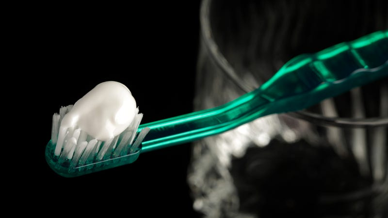 A 2009 photo of a toothbrush with Colgate Total toothpaste on it, a brand that once contained triclosan. The company only switched its formula this year.