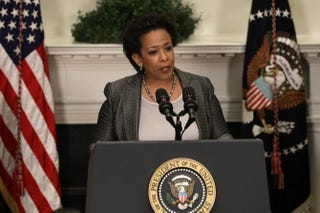Loretta Lynch at the ceremony in the Roosevelt Room of the White House Nov. 8, 2014, in Washington, D.C., after President Barack Obama introduced her as his nominee to replace Eric Holder as attorney generalWin McNamee/Getty Images