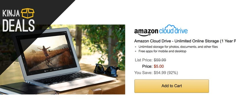 Illustration for article titled Amazon Will Sell You a Year of Unlimited Cloud Storage For $5 Today