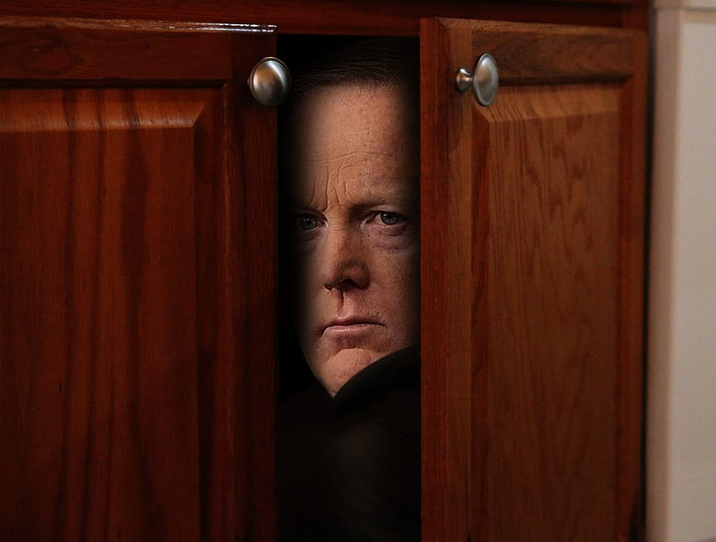 Illustration for article titled Despondent Sean Spicer Returned To Locked Kitchen Cupboard Following Press Briefing
