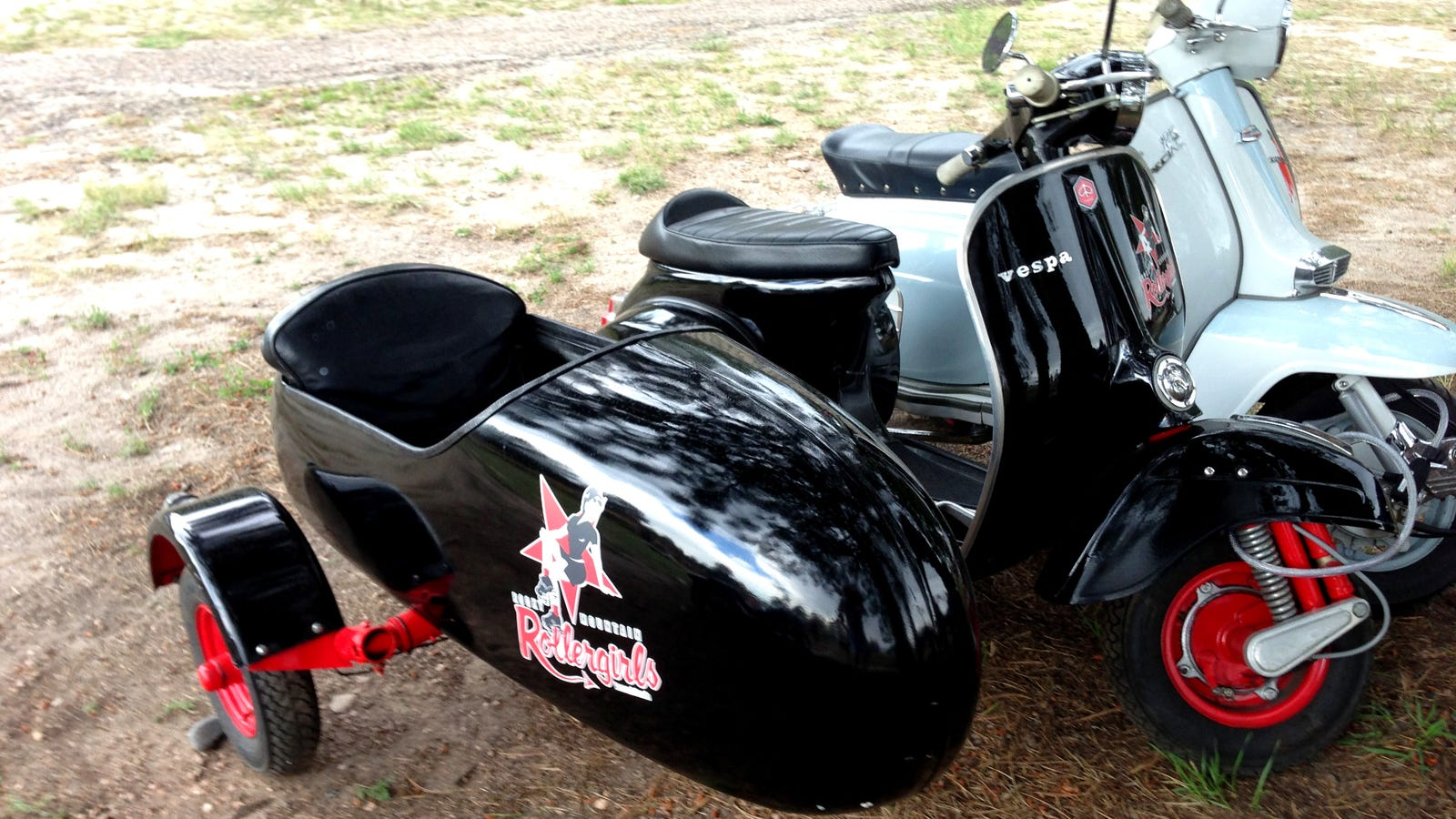 roller derby chick rides a vespa with a sidecar. Black Bedroom Furniture Sets. Home Design Ideas