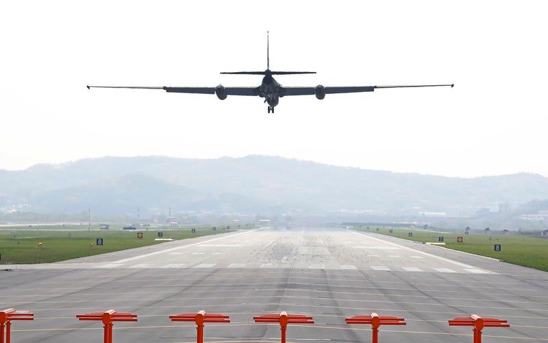 A US Air Force U-2 spy plane prepares to land at Osan Air Base in Pyeongtaek, South Korea on Monday, April 24, 2017  (Kim In-chul/Yonhap via AP)
