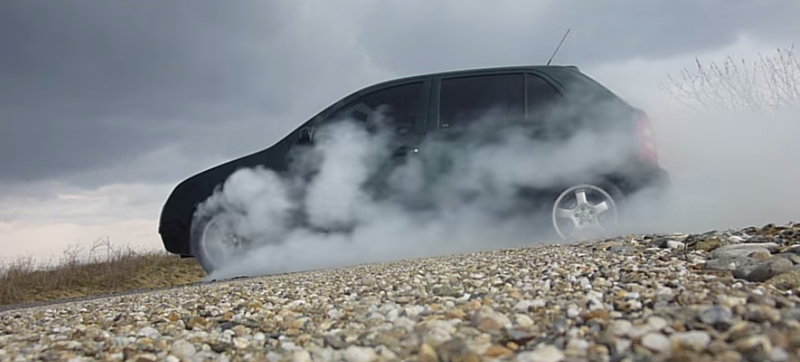 Illustration for article titled Skoda Fabia Burnout? Sure, Why Not