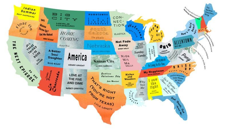 The Musical Map Of The United States (Illustration: Brooklyn Magazine)
