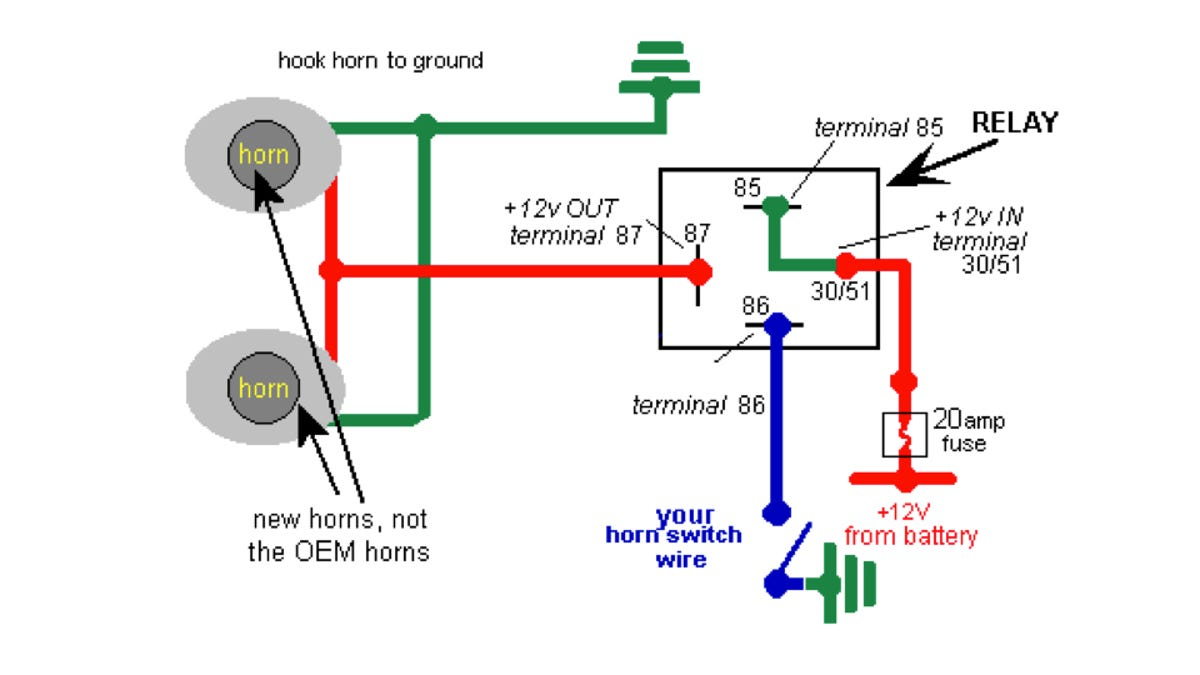 Fiamm Air Horn Relay Wiring Denso Relay Wiring Bosch Relay Wiring