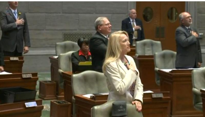 Missouri state Sen. Jamilah Nasheed (background, center) is seen sitting down as other senators recite the Pledge of Allegiance on Sept. 14, 2016.Fox2 Screenshot