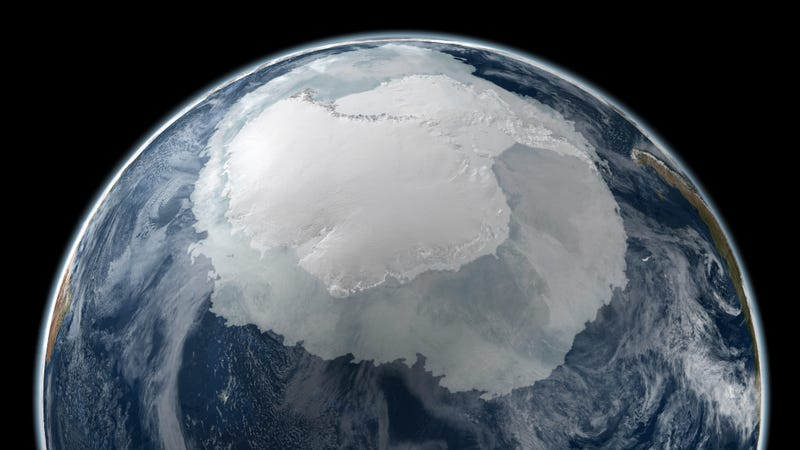 This visualization shows Antarctic sea ice (transparent white) rimming the continent (solid white) in the austral winter of 2005.