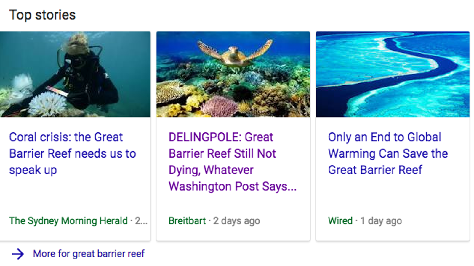 Google Top Stories Serves Breitbart Bullshit on Climate Science