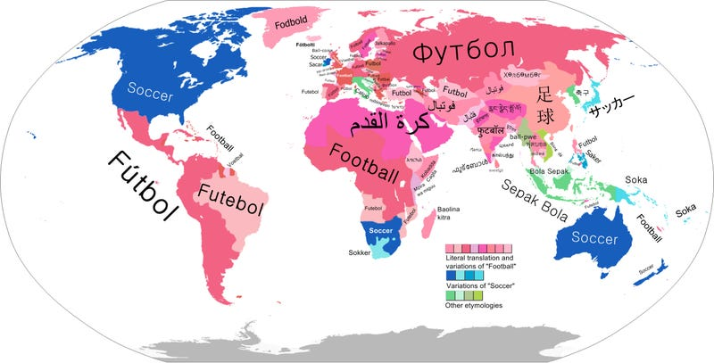 "Illustration for article titled Map: What Every Country Calls The Thing We Call ""Soccer"""
